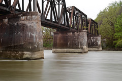 Silky Water (brutus61534) Tags: railroad bridge river water long exposure concrete nd neutral density filter