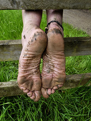Natural leather (Barefoot Adventurer) Tags: barefoot barefooting barefoothiking barefooter barefeet barefooted baresoles barfuss muddyfeet muddysoles muddy mud barefootmudwalk gloriousmud grounding grimysoles wrinkledsoles toughsoles texture healthyfeet happyfeet hardsoles heelcracks hiking toes tough earthsoles earthing earthstainedsoles arches anklet ankles strongfeet stainedsoles soles