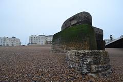 groyne (curly_em) Tags: brighton eastsussex beach seaside sea groyne stonework pebbles lowtide pier brightonpier clock