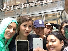 NYC Scavenger Hunt Photo (realcityhunt) Tags: selfie grouppicture smile pose ladies women hat jacket hood teal cellphone phone building office entrance nosering thenewyorktimes headquarters challenge scavengerhunt nyc newyorkcity teamwork teambuilding corporateevent cityhunt apple iphone