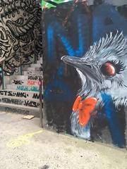 Je sors et alors? (NaÖH) Tags: oiseau bird graffitiart graffiti paint ostrich autruche naöh
