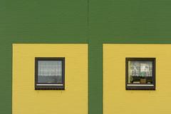 Yellow and green facade (Jan van der Wolf) Tags: map 18469vvv zoetermeer architecture architectuur facade gevel gebouw geometric geometry geometrisch geometrie yellow geel groen green windows ramen dissymmetry