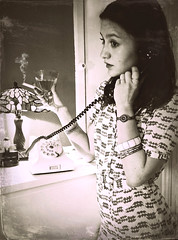 The 40's Look (Clare-White) Tags: helen 1940s phone vintage old female smoking bw dress drink glass flickreveryday matchpointwinner mpt629 7dwf