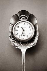 (laura_rivera) Tags: 35mm film stilllife old vintage watch spoon macro white black