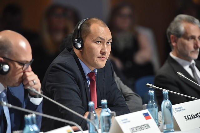 Asset Asavbaev listening to the Open Ministerial Session
