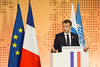 President Emmanuel Macron at the OECD (Organisation for Economic Co-operation and Develop) Tags: 2018 oecd emmanuelmacron visit nomoneyforterror conference angelgurria secretarygeneral paris france fra