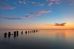 Fifty Point Sunrise (B.E.K. Photography) Tags: sunrise grimsby ontario canada sky clouds water smooth pier morning light outdoor landscape longexposure fiftypoint fog mist nikond800 nikon2470f28