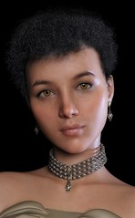 Lynnell : portrait (foto_morgana) Tags: 3drendering 3dcharacters 3dhumanmodels 3dmodeling computergeneratedimagery unbiasedgprendering nvidiairayengine render rendering 3dimensionalart dazstudio50 3dsoftware photorealisticimagery on1photoraw2018 cgi imagery digitalart illusions personality character physiognomy portrait portraiture headshot fullfaceview virtualart virtualworld girl cutegirl prettygirl topmodel supermodel face lady stunningbeauty classicbeauty gorgeousgirl stare eyelevelview attractivegirl sensual brunette shorthaircut curls hairstyle photoshoot amazingmodel talent mannequin posing earrings necklace choker virtualwoman realistic3d