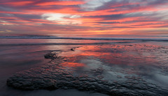Tidal Sunset #2 (CloudRipR) Tags: moonlightbeach california southerncalifornia socal encinitas ocean beach sand rock tides reflection sky clouds sunset pink nikon nikkor d810