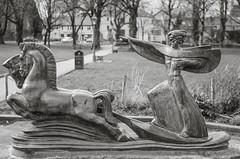 Statue of Manann (Hattifnattar) Tags: ireland castlebar statue manann pentax bokeh fa43mmlimited bw monochrome
