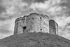 Clifford's Tower (andyrousephotography) Tags: york yorkcastle cliffordstower fortification medieval keep mound blackandwhite bw conversion niksilverefexpro2