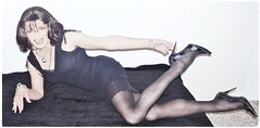 b+w sofa (Katvarina) Tags: transgirl tgirl tgurl transgender transpeople kat crossdress crossdresser crossdressing highheels lbd