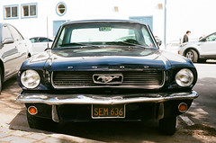 Black Mustang (benakersphoto) Tags: film kodak filmgrain filmscanner filmisnotdead ektar kodakprofessional ektar100 35mm 35mmfilm pentax pentaxp30t sanfrancisco sanfran car vehicle ford fordmustang mustang classiccar classiccars california auto city bay sunny