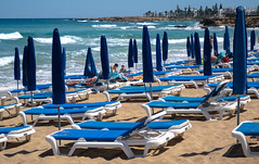 Protaras, Cyprus. (CWhatPhotos) Tags: cwhatphotos waters man male 2018 april digital camera pictures picture image images photo photos foto fotos that have which contain olympus seafront golden coast beach blue sky skies sunny day holiday cyprus eastern protaras water sea deep color colour 43 micro four thirds penf sand sandy mediterranean parasol parasols sunbeds people sun bathing bathe holidays seascape