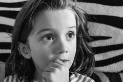Luna Day 1661 (evaxebra) Tags: luna thought thoughtful black white portrait zebra couch