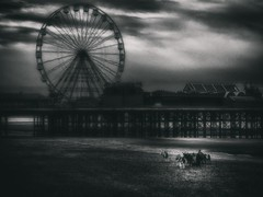 At the End of the Day (Bill Eiffert) Tags: blackpool england resort donkeys tourists ferris wheel sea fairground painterly pictorialist pictorial littledoglaughednoiret