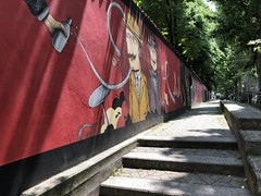 a street with a mural (Hayashina) Tags: italy sestosangiovanni sunlight mural wall