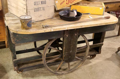 Primitive Butcher Block-Top Peddler's Cart Table ($896.00)