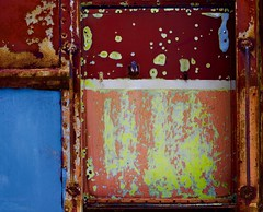 Abstract (StephenReed) Tags: abstract art abstractart metal paint chippedpaint rust door handle blue color train nikond3300 stephenreed rivets