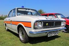 Ford Lotus Cortina police car (R.K.C. Photography) Tags: ford cortina lotuscortina police car classic british 1970 oeb580h duxford england iwm duxfordspringcarshow2018 canoneos100d cambridgeshire unitedkingdom uk