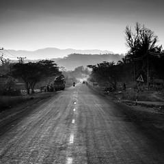 Road, Laos (pas le matin) Tags: road route perspective laos lao asia asie southeastasia travel voyage sunset silhouettes nb bw monochrome noiretblanc blackandwhite canon 7d canon7d canoneos7d eos7d