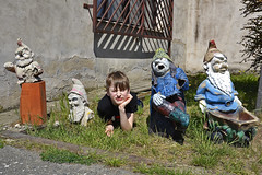 five dwarfs (t.horak) Tags: five dwarfs dwarf garden statue grass boy child decaying