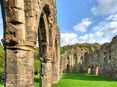 The ruins of Cymer Abbey (Digidoc2 - OFF for a little while) Tags: stonewall historic cloister historical dissolution abbey cymerabbey cistercian ruin landscape building church countryside rural sky blue clouds grass green trees wales uk