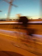Wheels in Motion (jmaxtours) Tags: wheelsinmotion bike cyclist bicyclist luminousveil princeedwardviaductsystem bloorviaduct viaduct bloorstreet toronto bridge blur motion cyclistonthebloorviaduct
