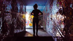 mirror piercing (simone.pelatti) Tags: underpassage mirror broken light mosaic stairs hole underground into darkness reflection siluette shadow
