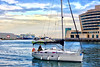 The return (Fnikos) Tags: port puerto porto harbour boat sailboat people sea water waterfront bay tower building architecture sky skyline plane airplane outdoor