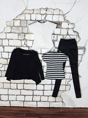 """Capsule Collection – the """"Basic"""" set (Levitation_inc.) Tags: ooak doll clothes clothing fashion fashions dolls handmade etsy levitation levitationfashion royalty fr fr2 nuface poppy parker barbie made move outfit black white basic basics capsule collection wardrobe"""