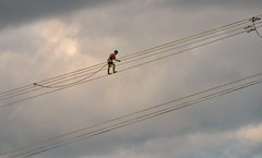 He Walks the Line (Rod Waddington) Tags: africa african afrique afrika äthiopien ethiopian ethiopia ethnic etiopia ethnicity ethiopie etiopian kenya power line walking walk safety electricity export worker working outdoor clouds cable