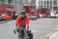 How may I pass through life with the least inconvenience? (John Newton) (Wretched, Saved by Grace (100% God, 0% Me)) Tags: johnninetwentyfive bicycle bike pedal christ christian london bus red