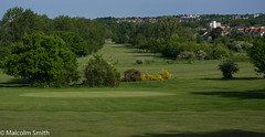 View Across The Course (M C Smith) Tags: golf course flag green grass bushes trees fairway red man clubs bag trolley ditches pentax k3 buildings flats houses spire church chingford yellow black suburbia shadows white sky clouds blue lines curves