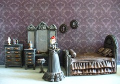 Miniature Corpse Bride furniture - Bedroom (redmermaidwerewolf) Tags: tim burton gothic mini miniature doll house dollhouse room box shadow display furniture cardboard craft handmade home made paper polymer clay air dry sculpted tiny figure the corpse bride victor victoria keychain selena kyle batman returns