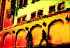 persecution in the flood (Armin Fuchs) Tags: arminfuchs würzburg rivermain river hightide flood reflection bicycle pedestrian red yellow mainkai diagonal windows