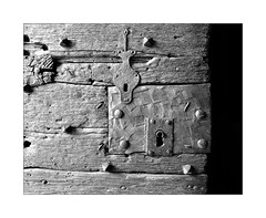 Double Safe (YIP2) Tags: key old vintage safe door lock detail texture lines shadow abstract minimal surface wood pattern bw blackwhite