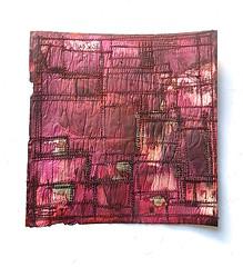 Where and When. backside (Ines Seidel) Tags: newspaper words poem lyrics news zeitung worte wörter gedicht lyrik tusche nähen garn thread red rot pink orange