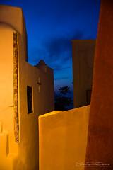 Blue Hour in Oia street (JP Defay) Tags: heurebleue bluehour oia santorin santorini greece grèce méditerranee tourisme tourism turismo architecture minimalisme couleurs ciel ville crépuscule