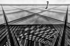 Two Lines (Leipzig_trifft_Wien) Tags: berlin deutschland de architecture modern contemporary reflection window glass mirror black white building urban blackandwhite lines geometry symmetrical