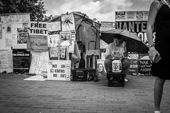 Free Tibet (Phil Roeder) Tags: washingtondc leica leicax2 blackandwhite monochrome whitehouse lafayettepark protest protester