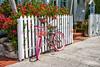 Key West Transportation (Andrea Garza ~) Tags: florida keywest bike bicycle floridakeys keys travel usa tropical island paradise transportation vacation bougainvillea whitepicketfence pink