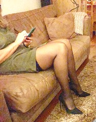 MyLeggyLady (MyLeggyLady) Tags: hotwife sexy milf teasing secretary holdups stockings minidress pumps stiletto cfm legs heels