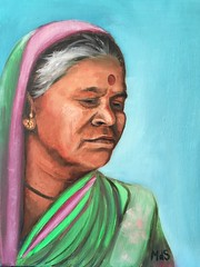 Indian woman (MMdSousa) Tags: oilpainting woman portrait india