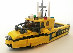 CG-09v (1) (Lonnie.96) Tags: lego brick 2018 custom own creation display scene yellow blue black aerial lights red green window water boat vessel rescue coast guard queenscliff point lonsdale cfa victoria may 2 ramp pier emergency local rail dock harbor seagull wooden sunk pillar door motor outboard callout