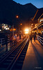 Arrival of the train in Aguas Calientes (spootnik_) Tags: peru perulover perulovers travel traveling travelphotography canon eos southamerica aguascalientes aguas calientes macchupichu outside night train lights machu pichu