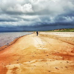 walking on the beach into the storm (-liyen-) Tags: pei princeedwardisland maritimes beachthundercovebeach ocean atlantic clouds stormy dunes redsand personwalking mobilemobilephotography square samsung samsungs6 canada summer challengeyouwinner