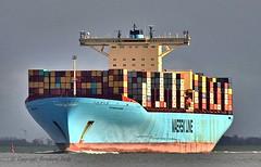 Eleonora Maersk (Bernhard Fuchs) Tags: elbe ships containerschiffe frachtschiffe schiffe cargoships boat nikon cargo cuxhaven containerschiff fracht frachtschiff ship vessel water maersk schiff wasser boot