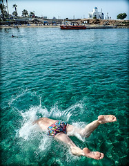 Protaras, Eastern Cyprus. (CWhatPhotos) Tags: cwhatphotos swim dive bum feet splash action waters man male 2018 april digital camera pictures picture image images photo photos foto fotos that have which contain olympus seafront golden coast beach blue sky skies sunny day holiday cyprus eastern protaras water sea deep color colour