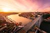 Sunset with D. Luis Bridge | Porto, Portugal (NicoTrinkhaus) Tags: porto portugal sunset water river spring dluisbridge cityscape skyline architecture douro bridge archedbridge boats waterscape